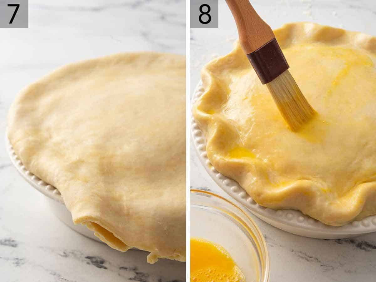 Set of two photos showing pie crust placed on top of the turkey pot pie and then brushing the crust with an egg wash.