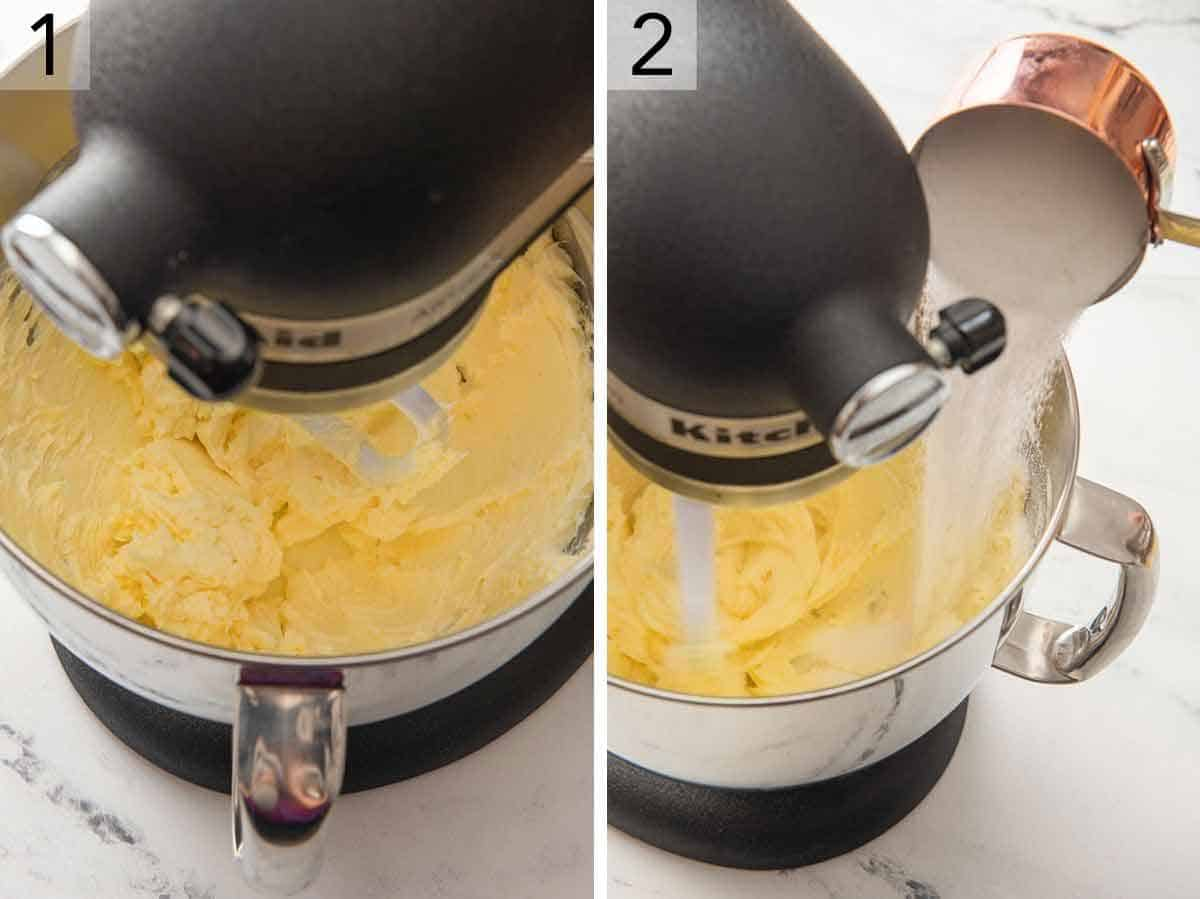 Set of two photos showing butter being creamed and then sugar added.