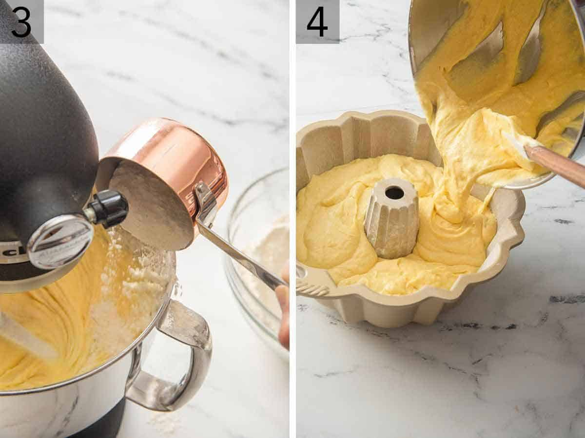 Set of two photos showing flour mixture being added to a mixer and then the batter poured into a bundt pan.