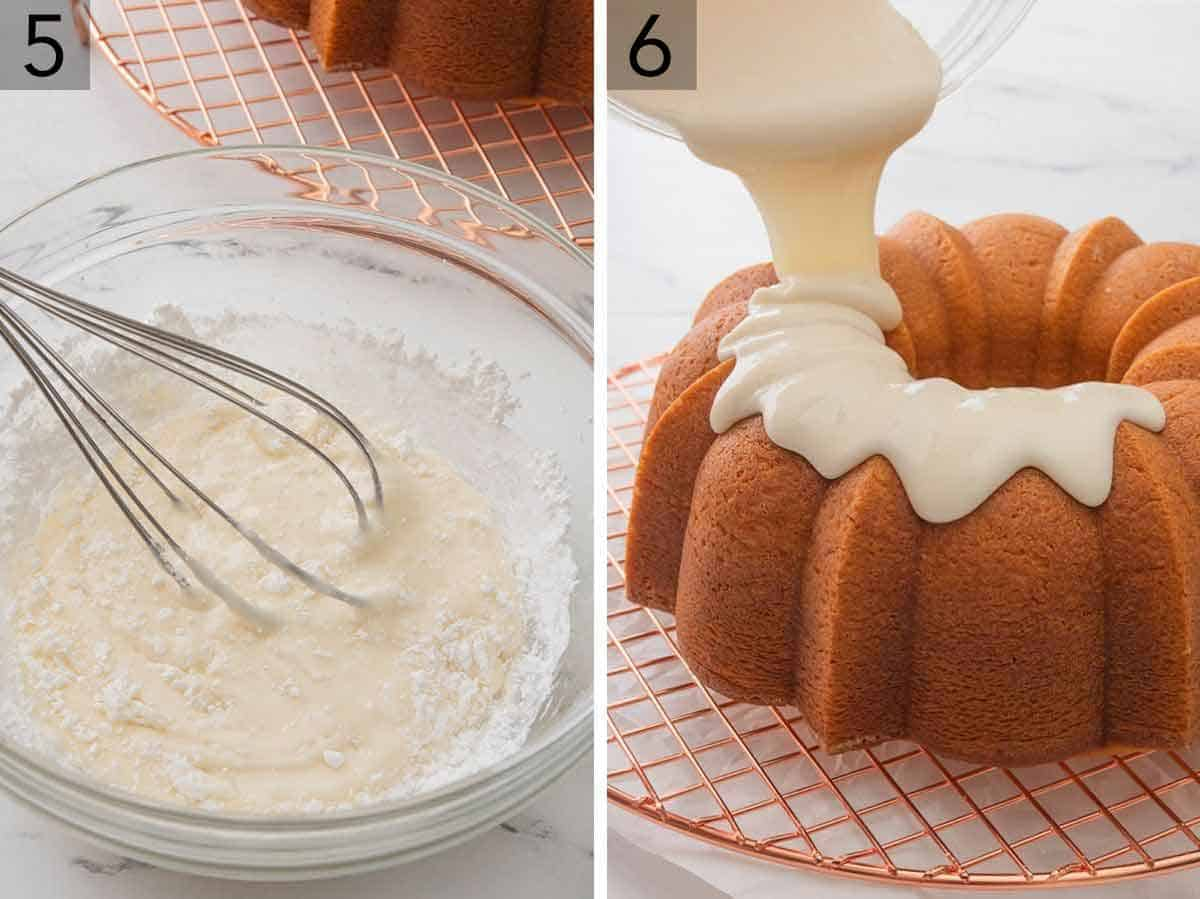 Set of two images showing the vanilla glaze being made and poured over top the Bundt cake on a rack.