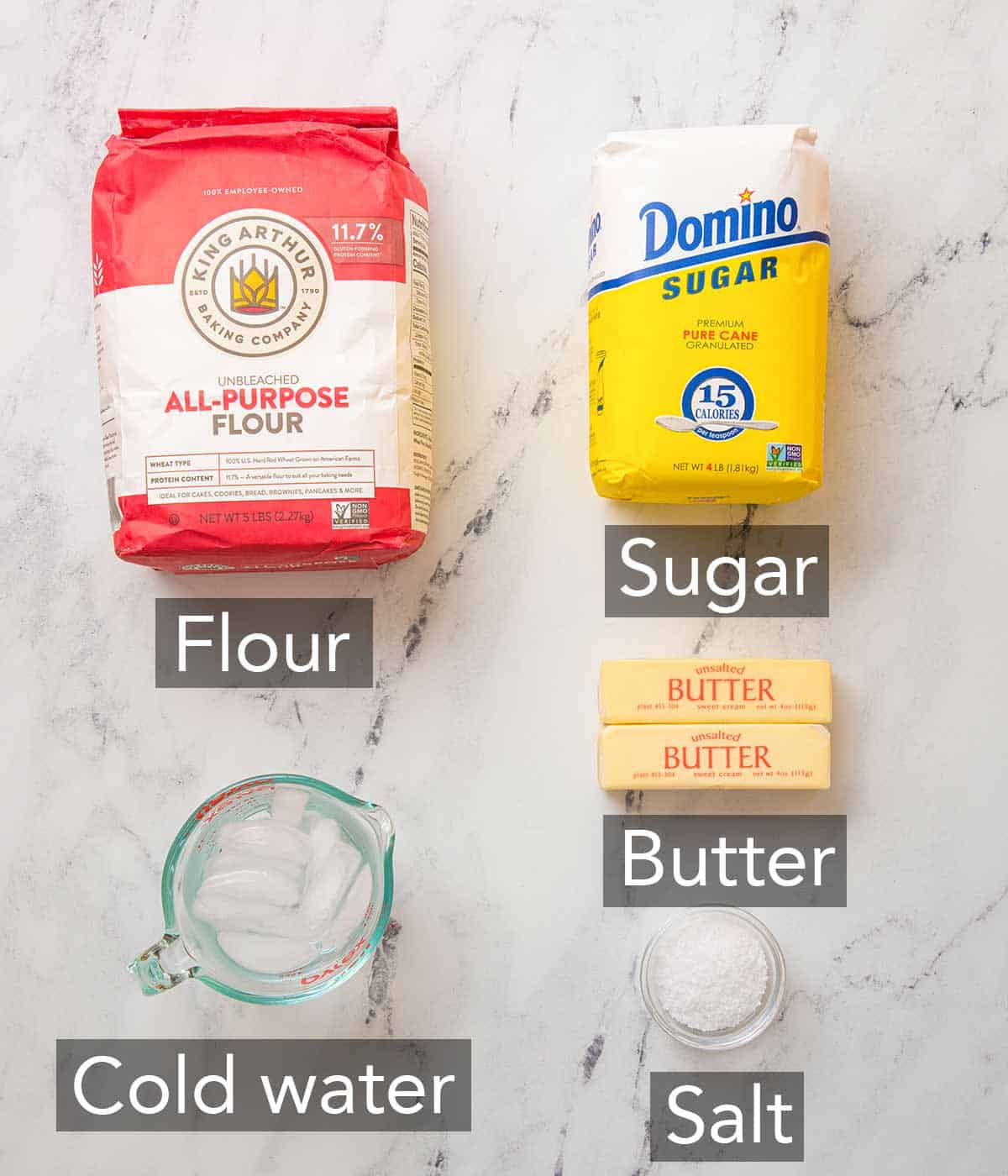 Ingredients needed to make puff pastry.