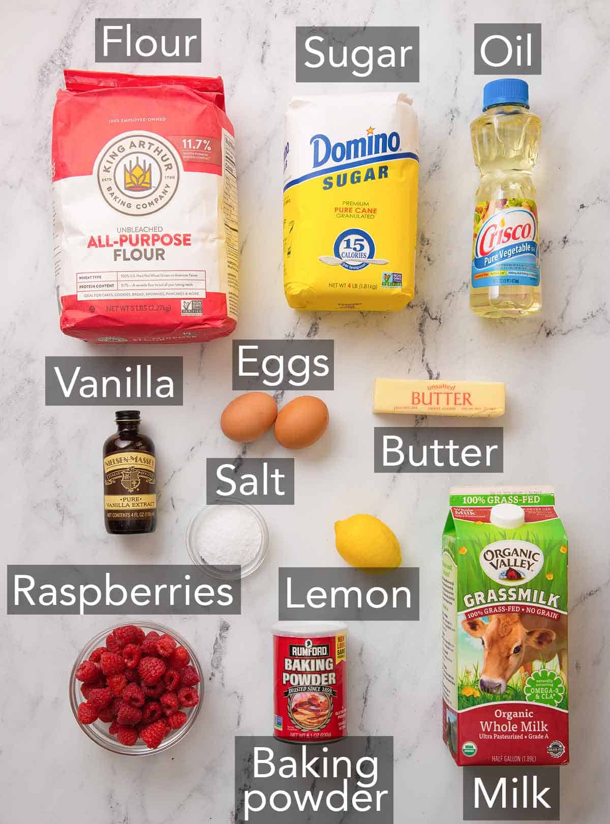 Ingredients needed to make raspberry muffins.