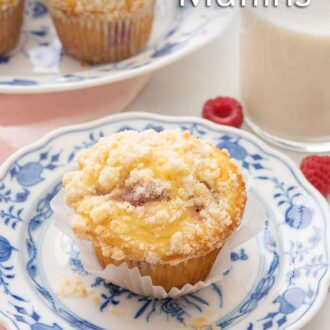Pinterest image of a raspberry muffin on a white and blue plate with raspberries strewn around.