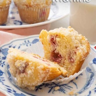 Pinterest image of a raspberry muffin cut in half on a small plate with a platter of muffins in the back.