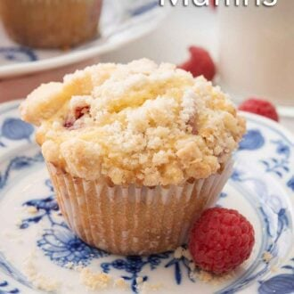Pinterest image of a raspberry muffin on a plate with a fresh raspberry beside it.