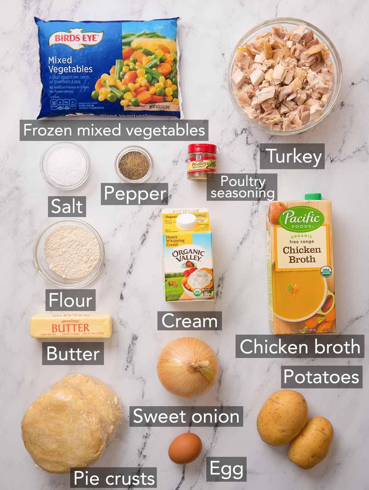 Ingredients needed to make turkey pot pie.