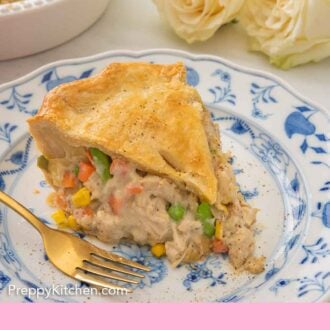 Pinterest graphic of a serving of turkey pot pie on a blue and white plate.