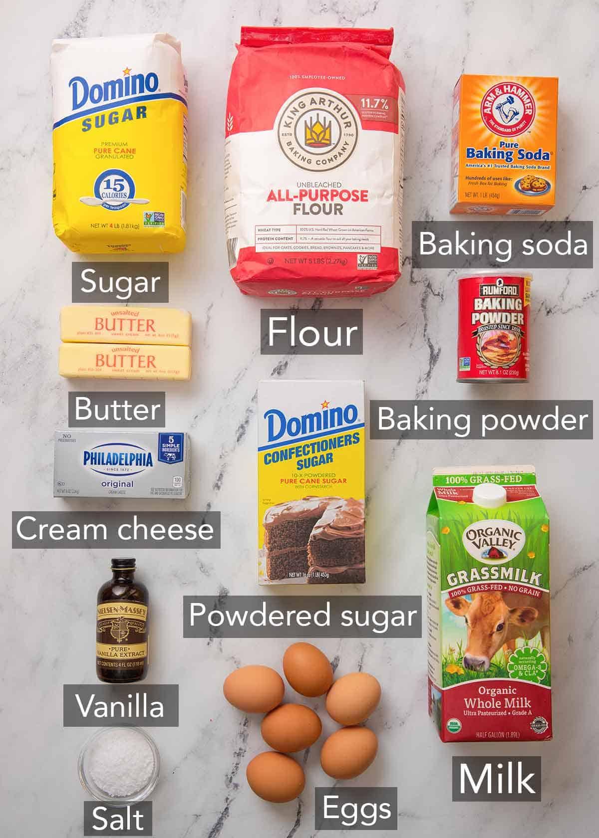 Ingredients needed to make vanilla Bundt cake.