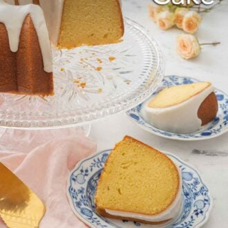 Pinterest graphic of a cake stand holding a cut vanilla Bundt cake with glaze with two slices on their own dessert plates.