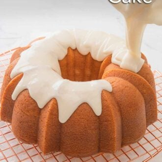 Pinterest graphic of vanilla glaze being poured over top of a Bundt cake on a wire rack.