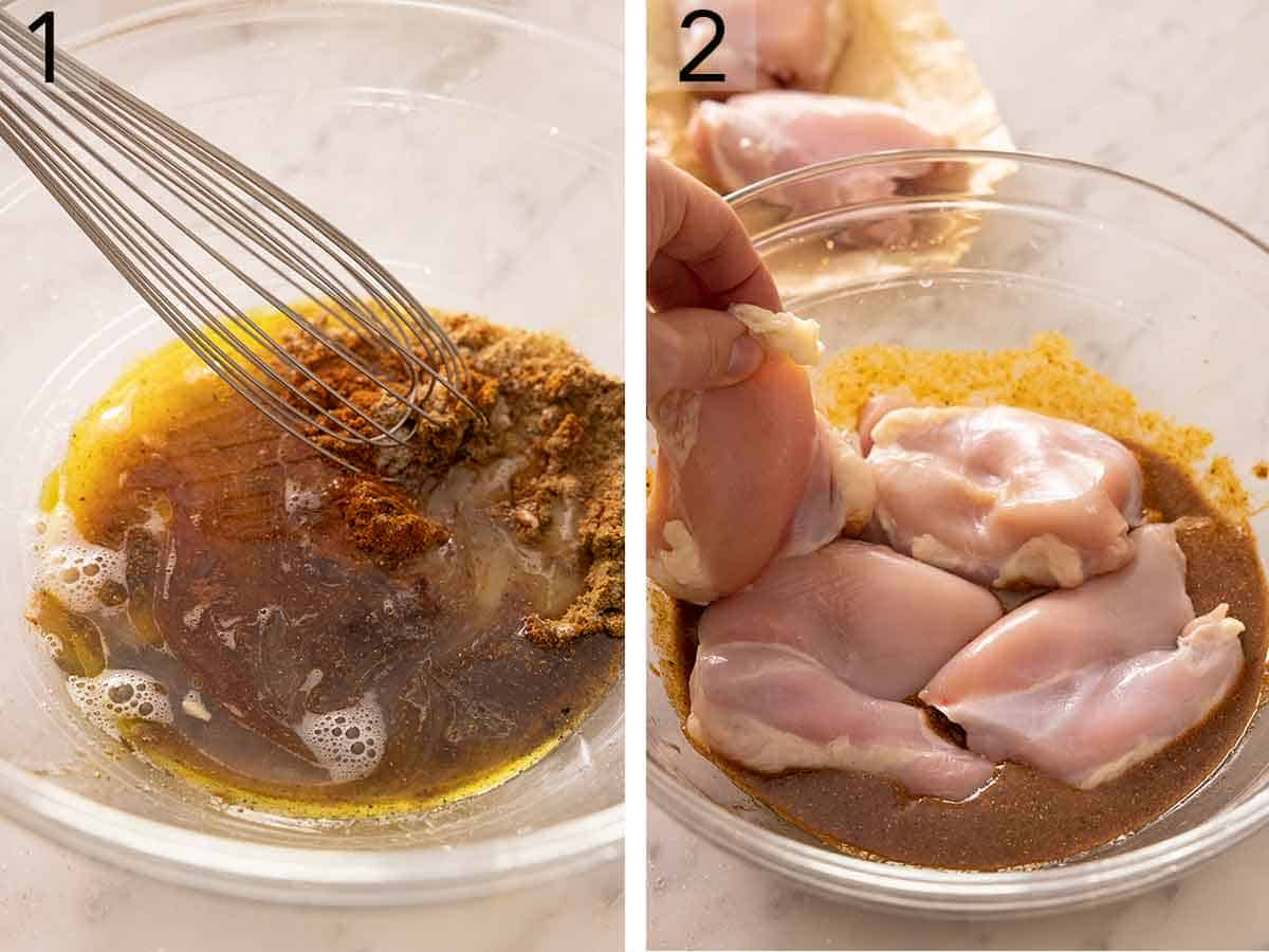 Set of two photos showing the marinade being mixed together and then boneless, skinless thighs added to it.