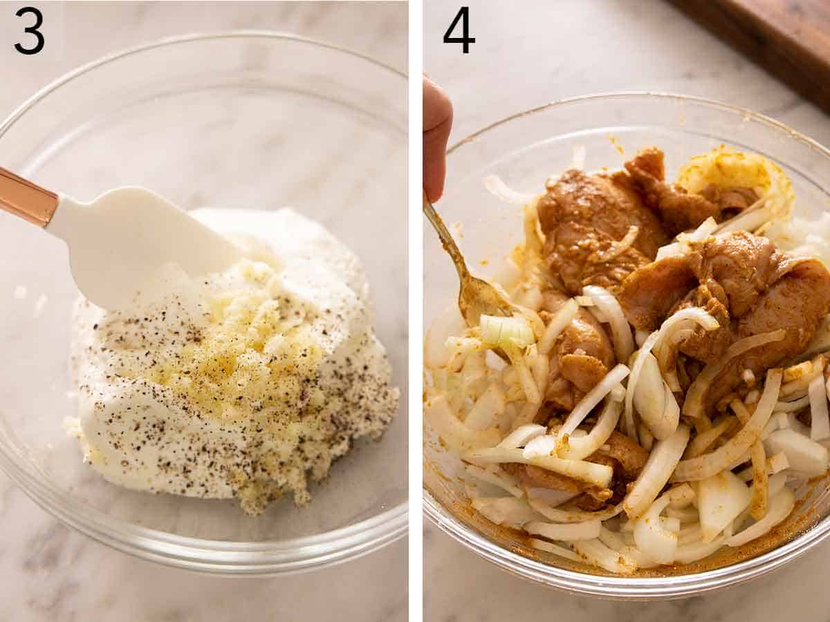 Set of two photos showing the yogurt sauce being mixed and then onions added to the marinade.