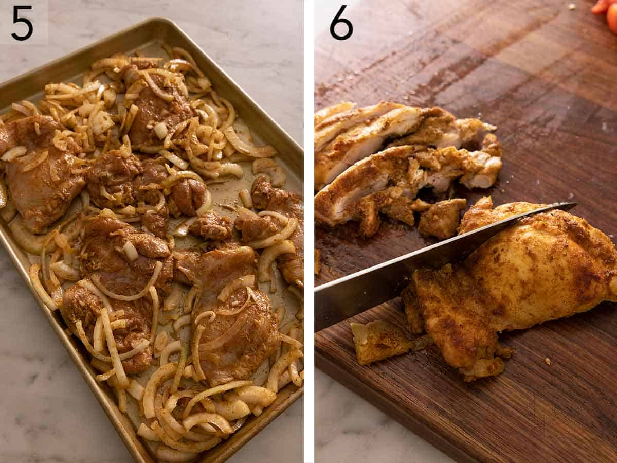 Set of two photos showing the chicken shawarma on a sheet pan to be baked and then the chicken thighs sliced.