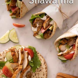 Pinterest graphic of three wrapped chicken shawarma with an opened one.