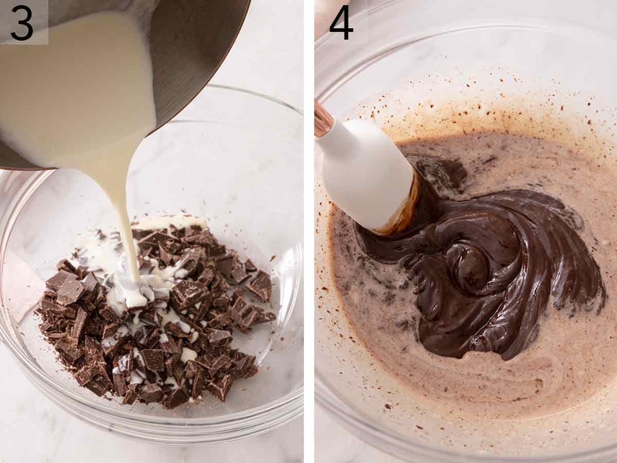 Set of two photos showing heavy cream poured over chopped chocolate then stirred.