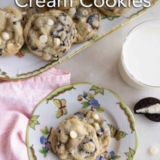 Pinterest graphic of a platter of cookies and cream cookies with a plate beside it containing two with a glass of milk.