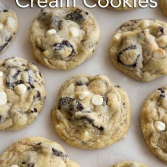 Pinterest graphic of multiple cookies and cream cookies laid out in rows.