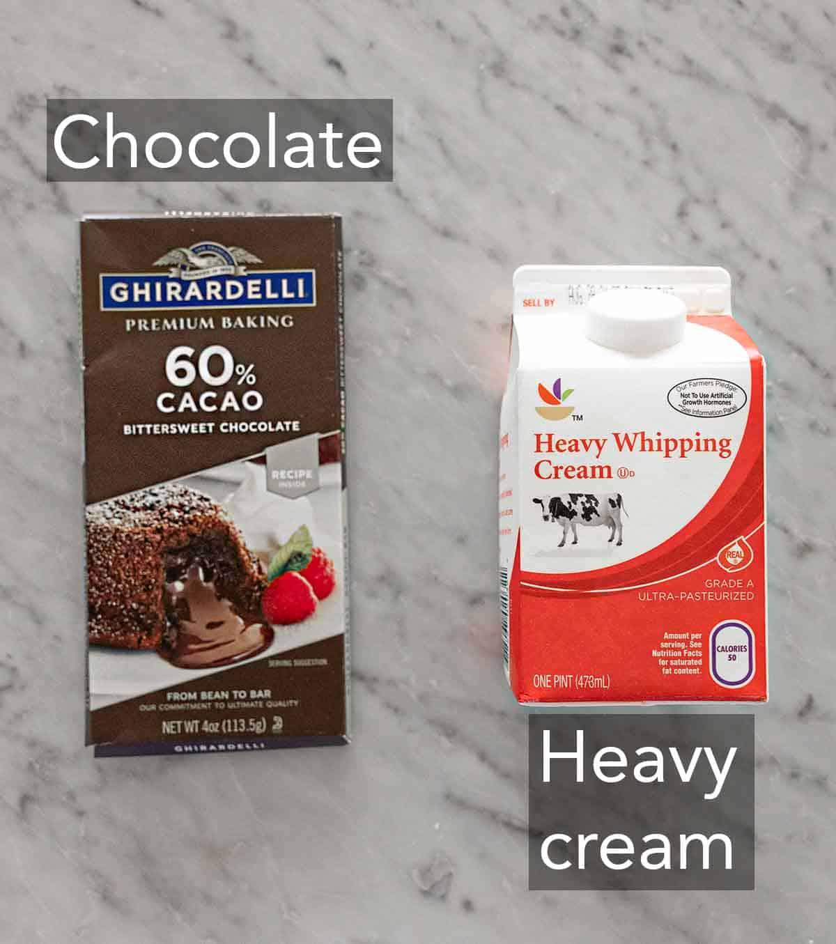 Ingredients needed to make chocolate ganache.