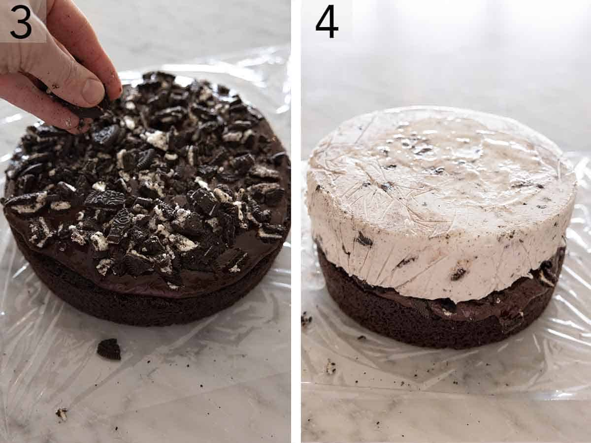 Set of two photos showing Oreo crumbs added to the fudge on the cake and then the ice cream layer placed on top.
