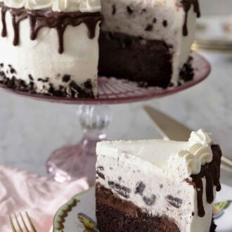Pinterest graphic of an ice cream cake on a cake stand with a slice cut out onto a plate in front.