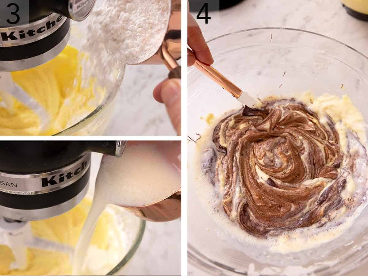 Set of three photos showing flour added to a mixing bowl then a buttermilk mixture. Third image is showing a vanilla batter being mixed with chocolate batter in a bowl.