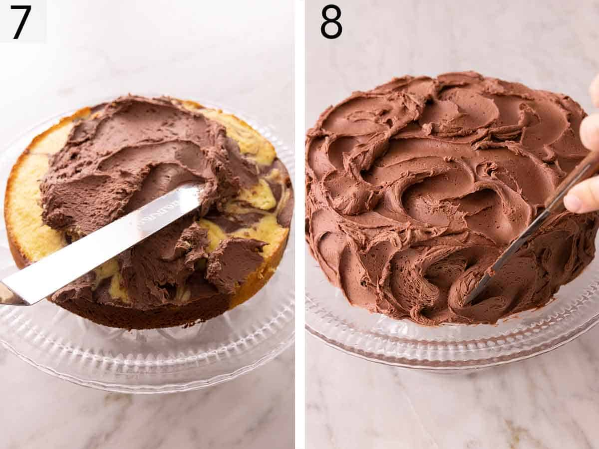 Set of two photos showing chocolate buttercream spread on a cake and then the cake being frosted.
