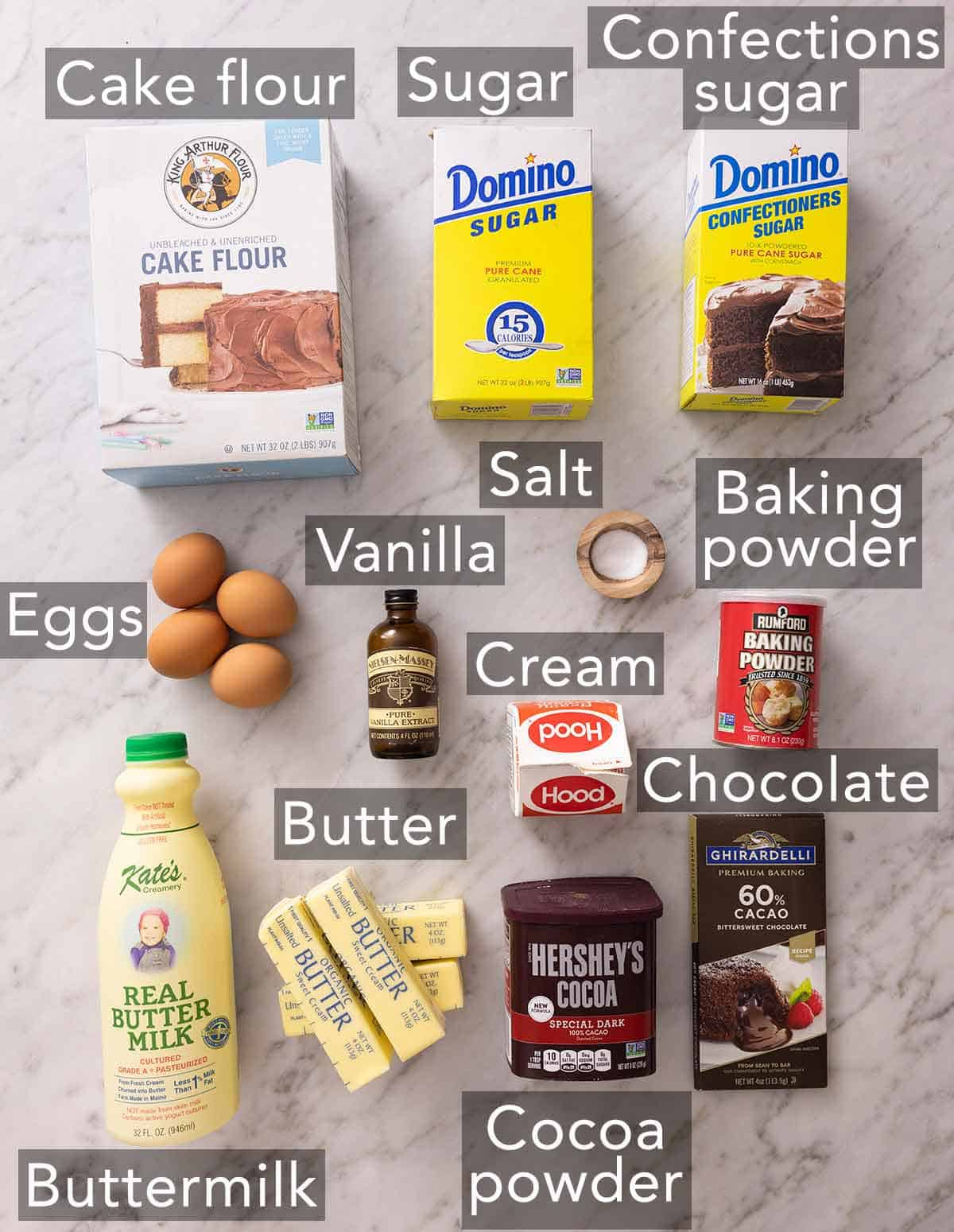 Ingredients needed to make a marble cake.