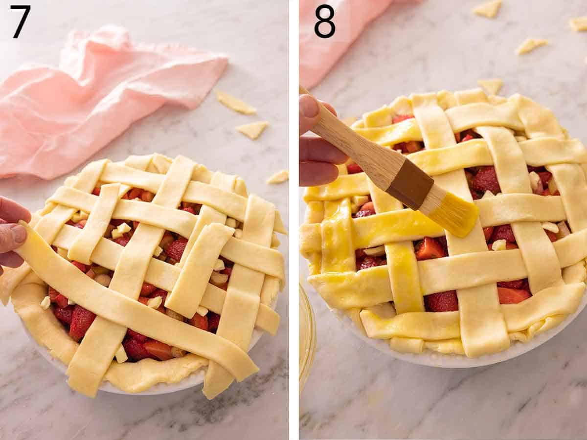 Set of two photos showing pie lattice added to the pie and then brushed with egg yolk.