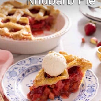 Pinterest graphic of a slice of strawberry rhubarb pie with a scoop of vanilla ice cream on top.
