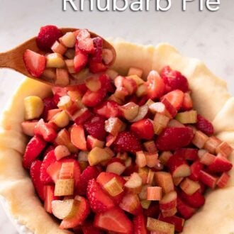 Pinterest graphic of strawberry rhubarb filling being spooned into a pie crust.