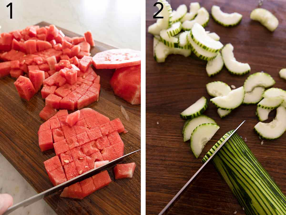 Set of two photos showing watermelon being cut into cubes and cucumbers cut into half-moon shapes.