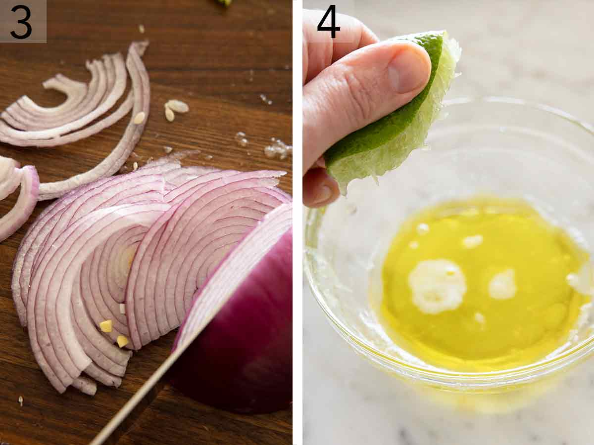 Set of two photos showing red onions sliced thinly and lime being juiced into a bowl.