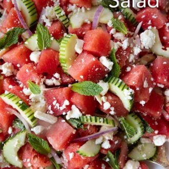 Pinterest graphic of a close up shot of a watermelon salad.