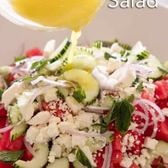 Pinterest graphic of dressing being poured in a bowl of watermelon salad.
