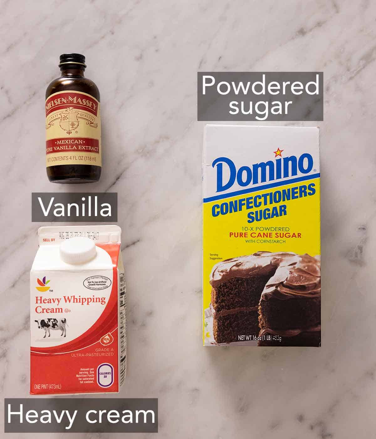 Ingredients needed to make whipped cream.