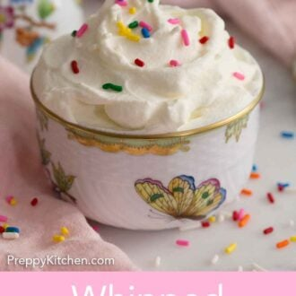 Pinterest graphic of a small cup of whipped cream with sprinkles.