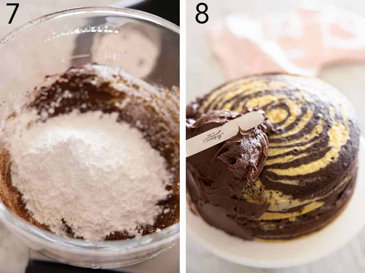 Set of two photos showing frosting being made in a bowl and then spread onto a cake.