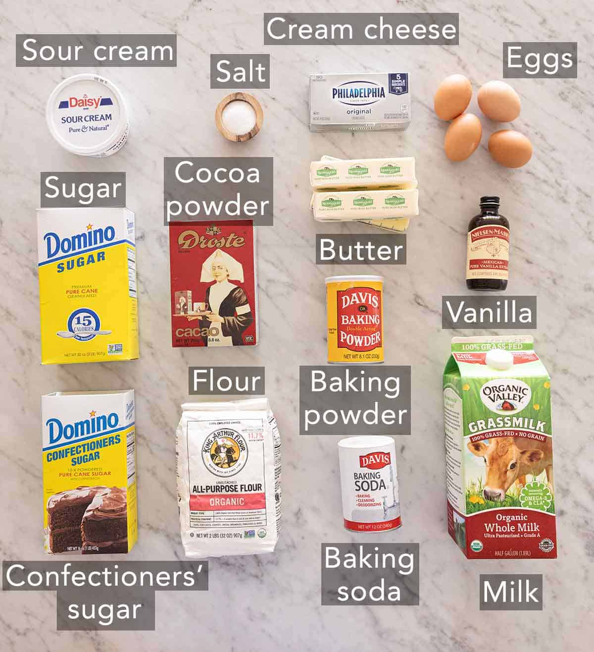 Ingredients needed to make a zebra cake.