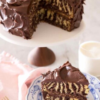 Pinterest graphic of a slice of zebra cake in front of a cake stand with the rest of the cake.