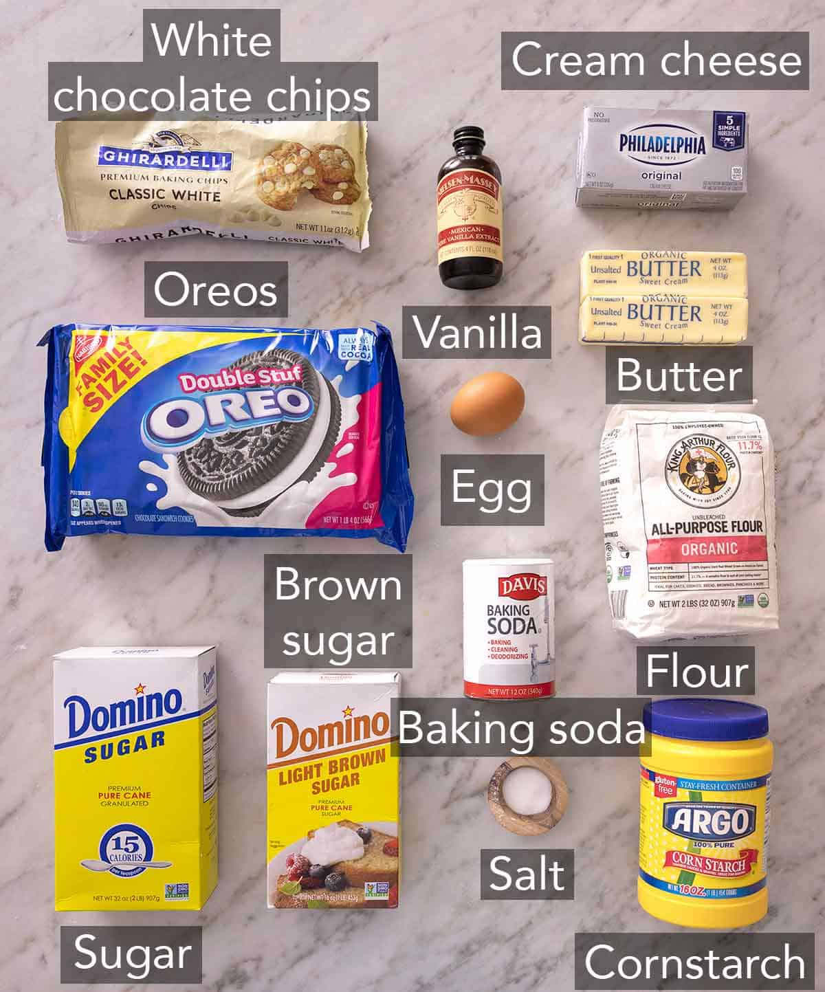 Ingredients needed to make cookies and cream cookies.