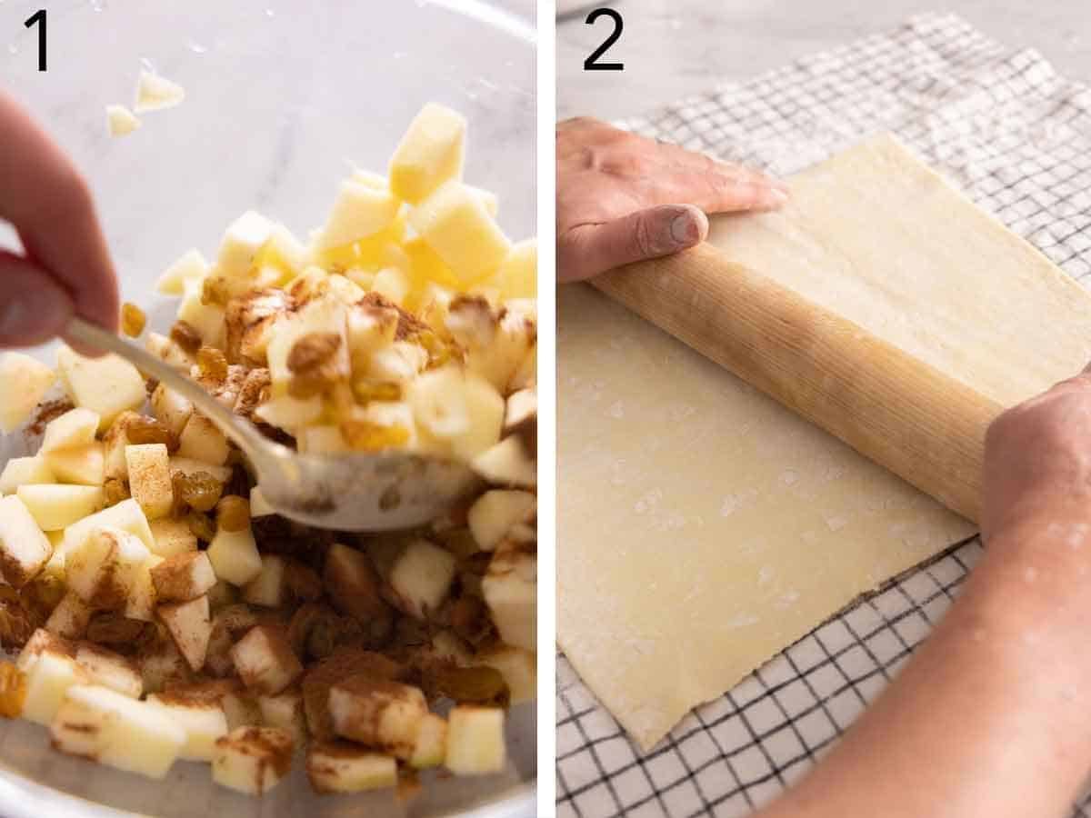 Set of two photos showing diced apple pieces mixed with cinnamon and puff pastry rolled out.
