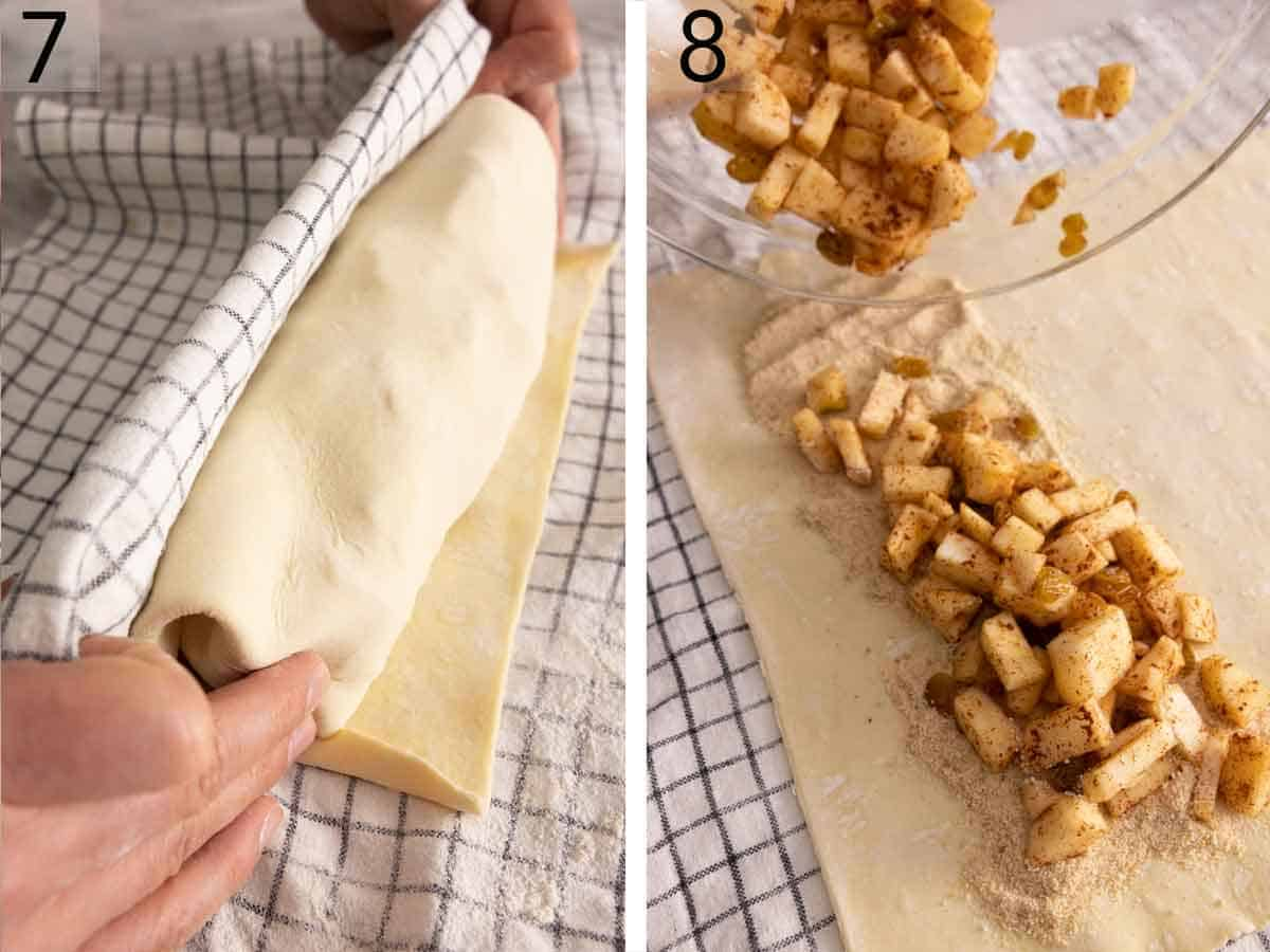 Set of two photos showing the apple strudel rolled and a second pastry being prepared.