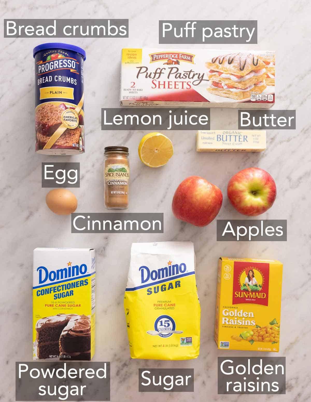 Ingredients needed to make apple strudel.