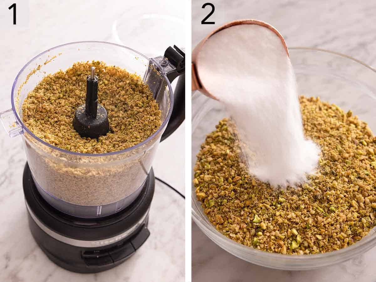 Set of two photos showing nuts chopped in a food processor and then sugar added to the nuts.