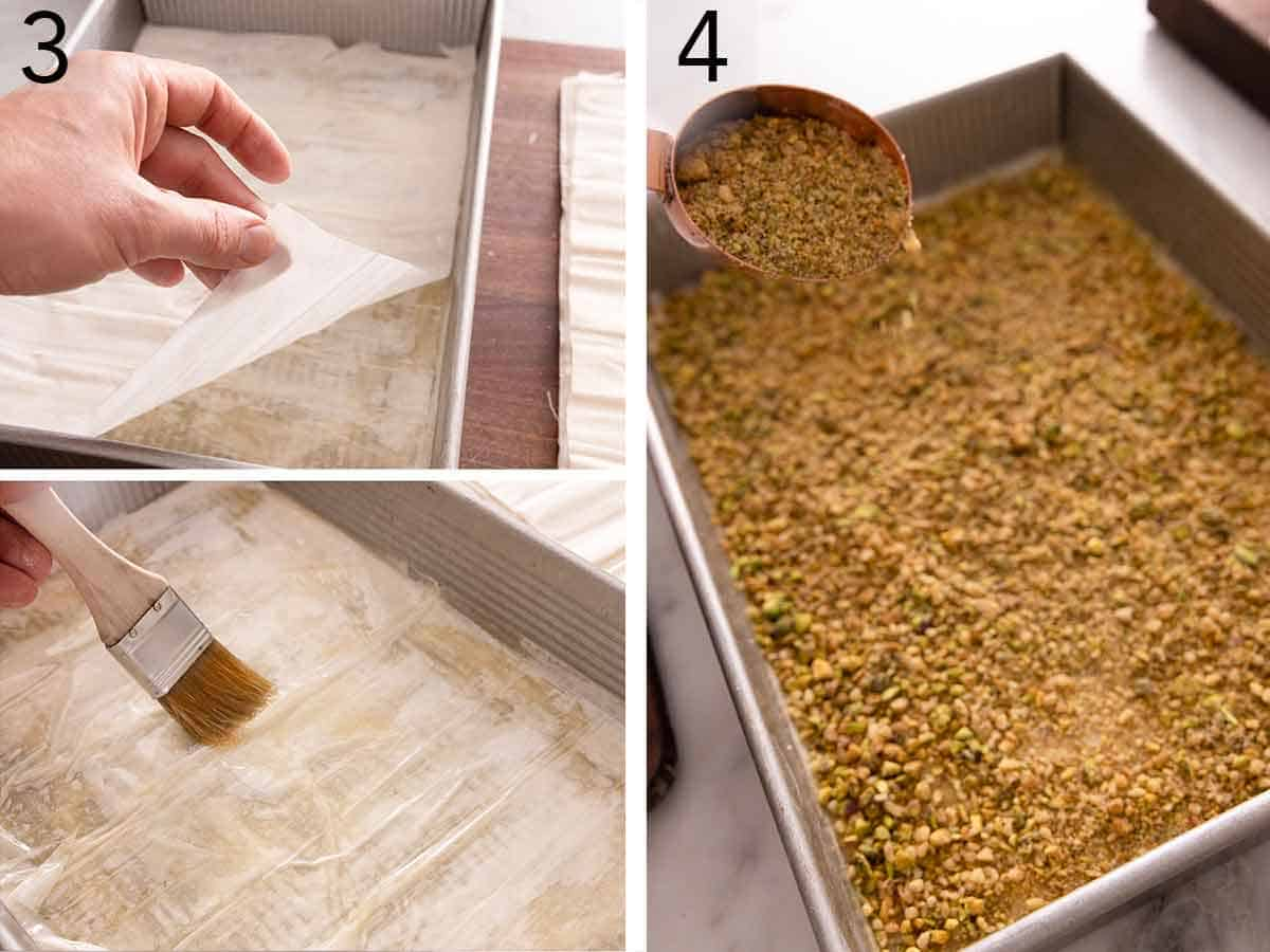 Set of two photos showing phyllo sheets being layered and brushed with butter before the nuts are poured on top.