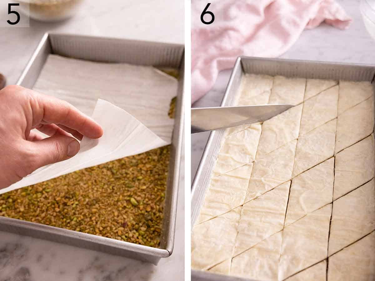 Set of two photos showing a phyllo sheet placed over top of a layer of chopped nuts and then the baklava cut into diamond shapes in the pan before baking.