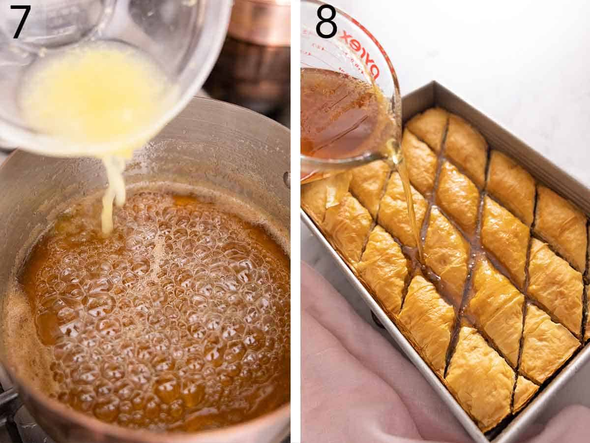 Set of two photos showing honey syrup made on the stovetop and poured over top of cut baklava in a pan.