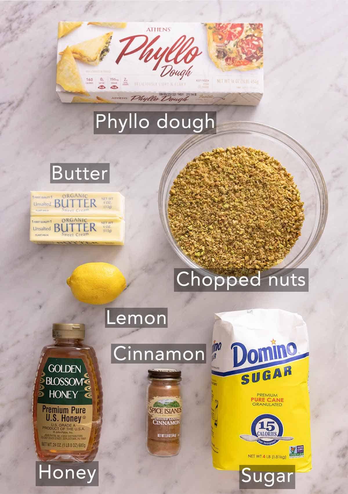 Ingredients needed to make baklava.