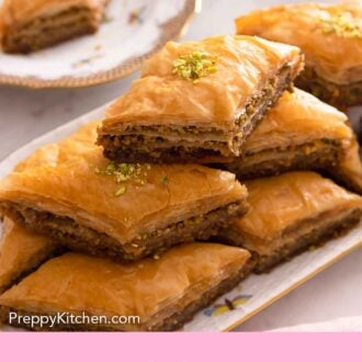 Pinterest graphic of a platter of baklava stacked on top of each other.