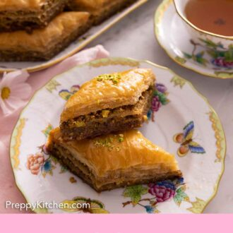 Pinterest graphic of a plate with two baklava with a platter in the back.